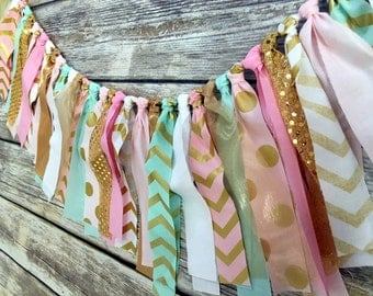 PINK MINT GOLD Birthday, High Chair Banner, Birthday Banner, I Am One, 1st Birthday Banner, Girl 1st Birthday, Cake Smash Banner, One Banner