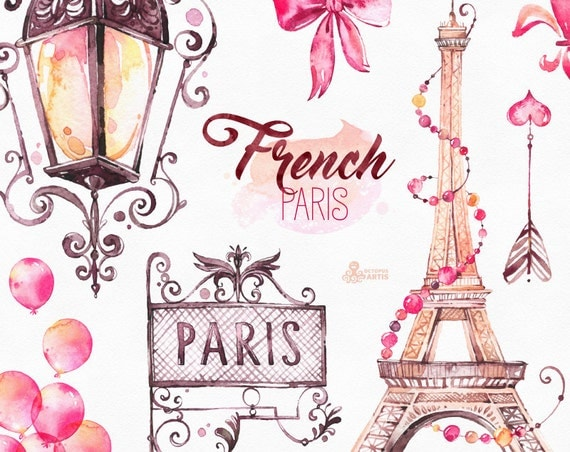 Watercolor Clipart Shoes Fashion Bulldog Eiffel Tower France Baloons Arrow Bow Gift Glam Stickers Romantic Diy From OctopusArtis On Etsy Studio