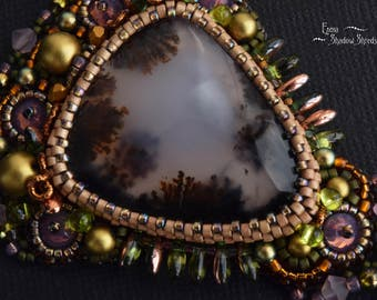"""Bead embroidery necklace """"Premonition of summer"""" Beadwork necklace Necklace on chain Necklace with Swarovski crystals Dendrite agate Collier"""