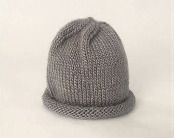 Baby Beanie Hand Knit, Wool Baby Hat, Unisex Baby Hat - Gray (0-3 Months)