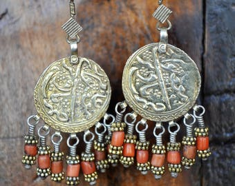FREE SHIPPING. Handmade Earrings with antique Arab Coins & Antique Coral. Golden, exclusive, artisan earrings. Vintage, Boho, Ethnic Jewelry