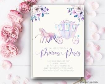Princess Carriage, Princess Party Invitation- Digital File