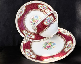 Empire Majestic Red - Trio of Cup Saucer and Plate - Elegant Florals with Golden Trim