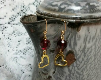 SALE! gold and red heart earrings  (were 12.95)