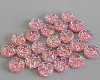 30pcs glitter resin Pink 12mm Cabochons Round 12mm Color Resin Druzy Cabochon DIY 12mm Pink Glitter Resin Cabochons