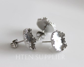 100pcs Crown STAINLESS Steel 12mm Earrings Settings Blanks Stud Earring Base trays