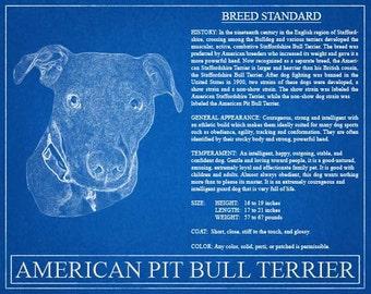 Pit Bull Blueprint Portrait / Pit Bull Art / Pit Bull Wall Art / Pit Bull Print / Pit Bull Gift / Pitbull Gift