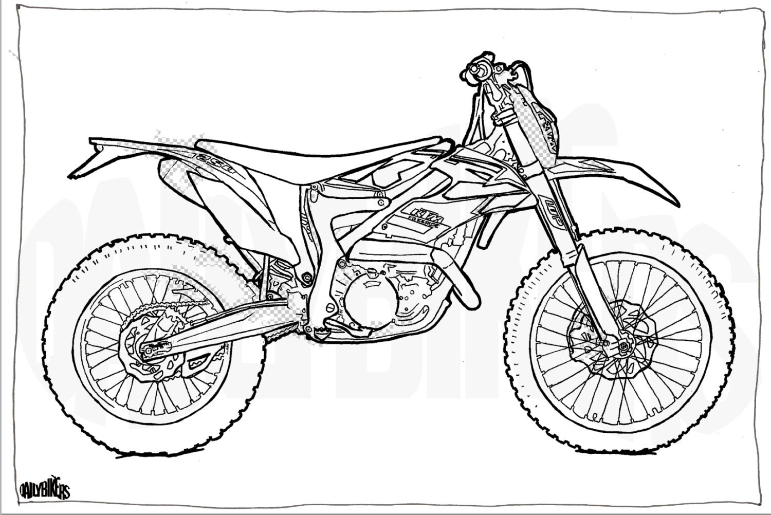 ktm freeride motorcycle colouring page motorcycle