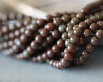 6mm (50) Druk, Smooth, Round, Caramel Picasso, Czech, Glass, Beads, Full Strand, 11 inches, 50 Pieces