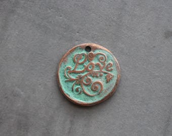 Copper Charm, Verdigris Patina, LOVE Charm, Rustic, boho, Jewelry Supplies, Stone Creek Surplus