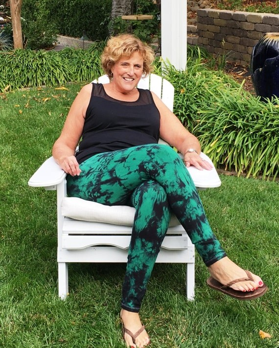 Tall Twilight Green Tie Dye Yoga Pants including Extra Long and Plus Sizes by Splash Dye Activewear