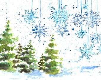 Snowflakes Watercolor Holiday Card - Individual