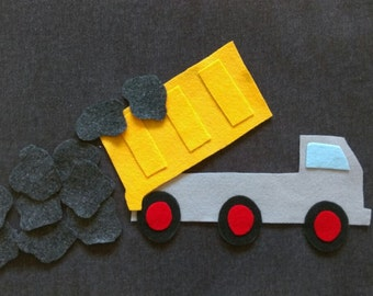 Dump Truck Counting Felt Board Set // Flannel Board // Math // Preschool // Counting // Pretend Play