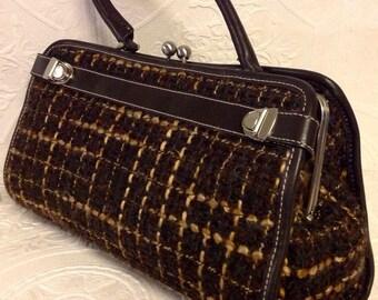 Sac à mains ENZO ANGIOLINI /Poignée sur dessus/Cuir et Tweed/Carreaux/Vintage/Large Clutch Handbag/Plaid Tweed/Lambswool/Leather Trim
