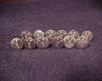 Lot of 12 Vintage Fancy Monogram Initial Letter Y Nickel Tone Uniform Buttons with straight shanks, cufflink making, materials, sewing, old