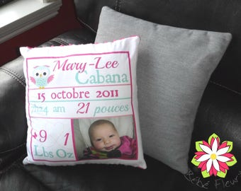 cushion COVER with birth stats