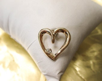 14K Yellow Gold Heart Pendant with a Diamond