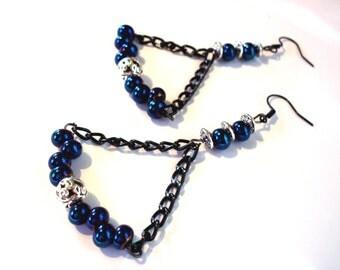 Bohemian earrings, black and blue roy oerles