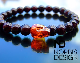 Men's Garnet Red Skull Head Bracelet Swarovski 7-8 Inch Elasticated Healing Stone With Pouch FREE UK SHIPPING