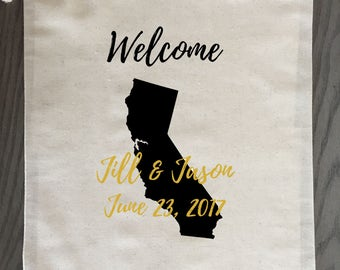 Wedding Welcome Bags Door Hanger Gift Bags for Hotel Wedding Guests Bridesmaid Groomsmen Gift Custom Destination Wedding - State Wedding