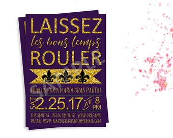 Mardi Gras Party Invitation, Printable Mardi Gras Invitation, Mardi Gras Party, , Mardi Gras, Laissez Les Bons Temps Rouler