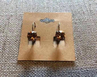 Smoked topaz Swarovski crystal 8mm earrings