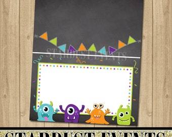 Monsters Tent Cards, Monsters Food Labels