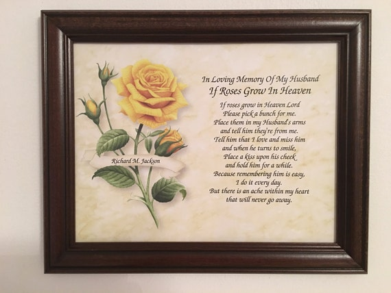 Memory Of Husband Sympathy Gift Roses Grow In Heaven Widow