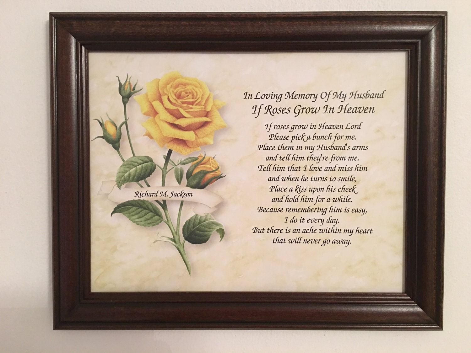 memory of husband sympathy gift roses grow in heaven widow memorial poem frame included bereavement funeral gift personalized