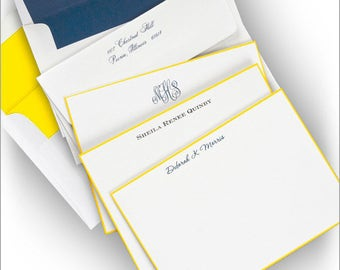 Yellow Hand Bordered Correspondence Card - Thermography - 5106