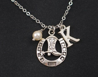 cowboy boot necklace, sterling silver filled, initial necklace, Swarovski pearl choice, silver horseshoe charm, cowgirl necklace, cowgirl
