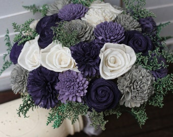 Sola Bouquet, Rustic Wedding, Purple Bouquet, Purple gray bouquet, Wedding Bouquet, wedding bouquet, wedding flowers, country wedding,