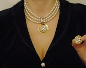 On Reserved 10-29-17 3Strand Majorca Pearl w/ Crystal  Medallion Choker&Clip On Earring Set! Vintage Designer Original, Chanukah , Gift!