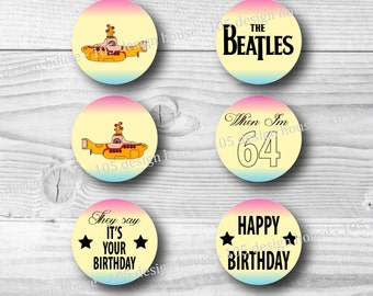 "The Beatles Cupcake Toppers Printable 2"" Cupcake Toppers - The Beatles Cupcake Toppers - The Beatles Party Printables INSTANT DOWNLOAD"