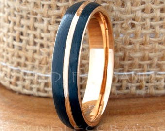 Tungsten Ring Tungsten Wedding Ring Band Mens Women's Wedding Band Anniversary Engagement Dome 5mm Black Rose Gold 18k Matching Ring Set New