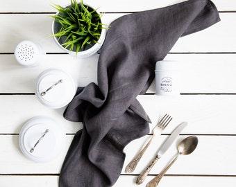 Natural Linen Tea Towel  in Dark Grey