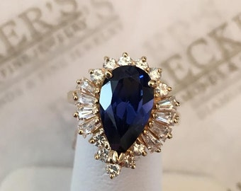 Vintage 14k yellow gold ring Pear Shaped Created Blue Sapphire with Created White Round & Baguette Sapphires in a  Spray Halo, size 4.75