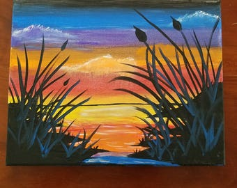 Evening Sunset River, Amateur Art, Acrylic Canvas Painting