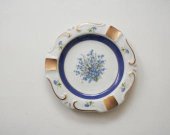 Vintage Porcelain China Ash Tray - Blue and White Floral - Gold Accent - Marie Antoinette - Tea Party - Trinket Dish