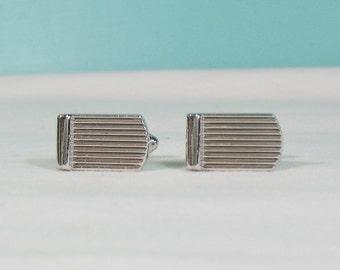 Borderd Ribbed Striped Silvertone Tile Cufflinks - Midcentury Modern
