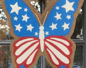 Summer Butterfly Burlap Door Hanger