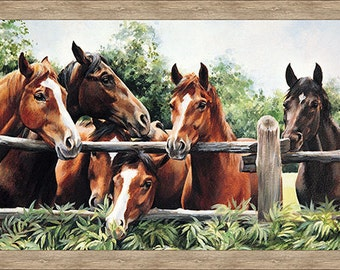 "Pleasant Pastures Horse Fabric Panel 34"" x 44""  / Quilt Panel  / Horse Quilt Panel / Northcott Studio Pleasant Pastures Panel 100% Cotton"