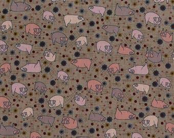 Pig Fabric / Pigs on Brown Fabric / High Meadow Farm Pigs Yardage Fabric / 1 Yard and 1/2 Yard Cuts