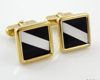 Nice Vintage Cufflinks Black Mother-of-Pearl Stripe Gold Tone