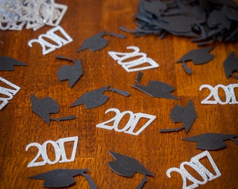 Silver and Black 2017 Graduation Confetti