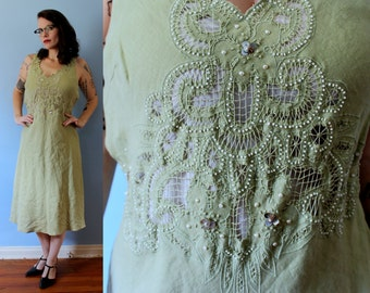 Vintage Inspired Sage Dance Dress // 1920's Style Sage Green Dress with Embroidery and Beaded Front // Linen/Cotton Women's Size Medium