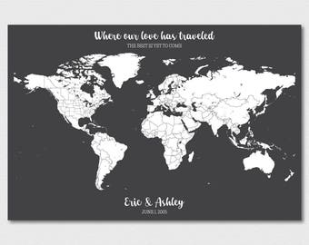 World Map Wall Art World Map Push Pin Travel Map Push Pin Map Art Personalized Map of World Map Canvas Travel Gifts Travel Map Pushpin World