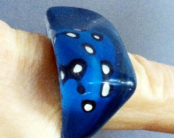 Blue Ring,Polka Dot,60s Ring,Mod Ring,Arty Ring,Abstract Ring,Acrylic Ring,Lucite Ring,Chunky Ring,Size 6 Half,Sz 6 Half,70s Ring,Cool Ring