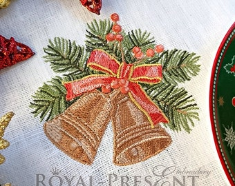Machine Embroidery Design - Vintage Christmas bells - 2 sizes