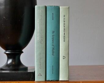 Green Books, Vintage Books, Antique Books, Vintage Collection, Book Décor, Wedding Decor, Home Decor, Centerpiece, Office Décor, Book set
